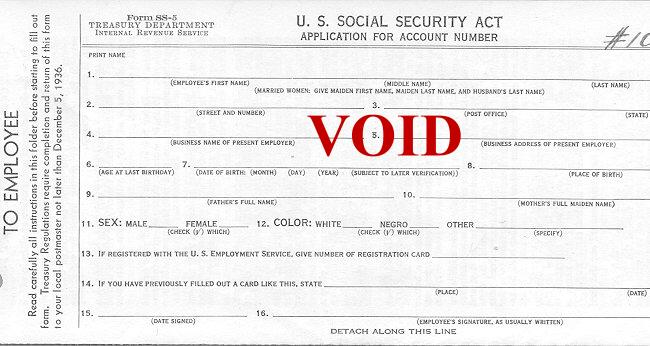 Social Security Administration's SS-5 Form - Application for a Social Security Card - Sample